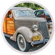 1936 Ford V8 Woody Station Wagon Round Beach Towel