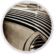 Round Beach Towel featuring the photograph 1936 Pontiac Hood Ornament -1140s by Jill Reger
