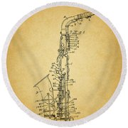 1936 Saxophone Patent Round Beach Towel by Dan Sproul