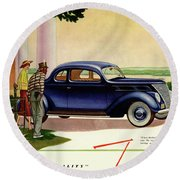 1937 Ford Car Ad Round Beach Towel