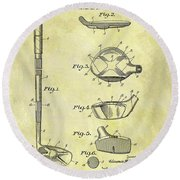1937 Golf Club Patent Round Beach Towel