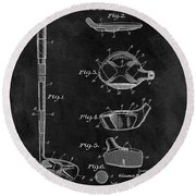1937 Golf Club Patent Illustration Round Beach Towel