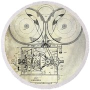 1937 Motion Picture Camera Patent Round Beach Towel