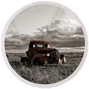 Abandoned Ford Pickup Round Beach Towel