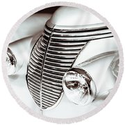 Round Beach Towel featuring the photograph 1938 Hispano-suiza H6b Xenia Front by Wade Brooks