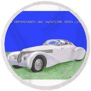 1938 Hispano Suiza H6c Saoutchik Xenia Coupe Round Beach Towel by Jack Pumphrey