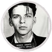 1938 Young Frank Sinatra Mugshot Round Beach Towel