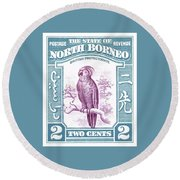 1939 North Borneo Palm Cockatoo Postage Stamp Round Beach Towel