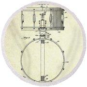 1939 Slingerland Snare Drum Patent S1 Round Beach Towel