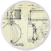 1939 Slingerland Snare Drum Patent Sheets Round Beach Towel