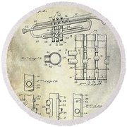 1939 Trumpet Patent Round Beach Towel by Jon Neidert