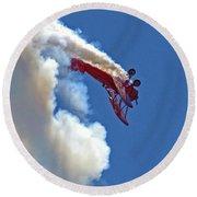 1940 Boeing Stearman Biplane Stunt 2 Round Beach Towel
