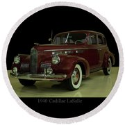 Round Beach Towel featuring the photograph 1940 Cadillac Lasalle by Chris Flees