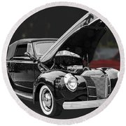 1940 Ford Deluxe Automobile Round Beach Towel