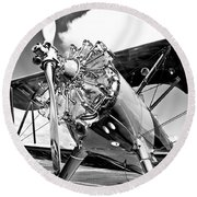 1940 Stearman Biplane Round Beach Towel
