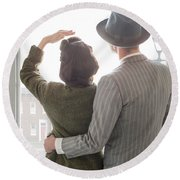 1940s Couple At The Window Round Beach Towel by Lee Avison