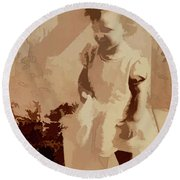 Round Beach Towel featuring the photograph 1940s Little Girl by Linda Phelps