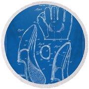 1941 Baseball Glove Patent - Blueprint Round Beach Towel