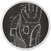 Round Beach Towel featuring the digital art 1941 Baseball Glove Patent - Gray by Nikki Marie Smith