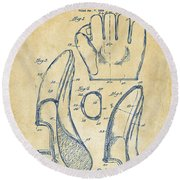 1941 Baseball Glove Patent - Vintage Round Beach Towel