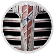 Round Beach Towel featuring the photograph 1941 Chevrolet Grille Emblem -0288ac by Jill Reger