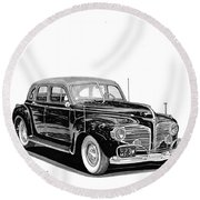 Round Beach Towel featuring the painting 1941 Dodge Town Sedan by Jack Pumphrey