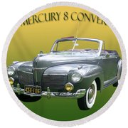 1941 Mercury Eight Convertible Round Beach Towel