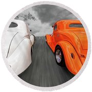 1941 Willys Vs 1934 Ford Coupe Round Beach Towel