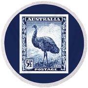 1942 Australia Emu Bird Postage Stamp Round Beach Towel