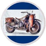 1942 Harley Davidson, Military, 750cc Round Beach Towel