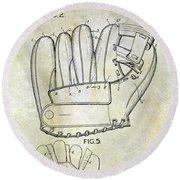 1943 Baseball Glove Patent Round Beach Towel