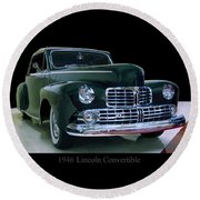Round Beach Towel featuring the photograph 1946 Lincoln Convertible by Chris Flees