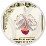 1947 Colombia Cattleya Chocoensisi Orchid Stamp Round Beach Towel