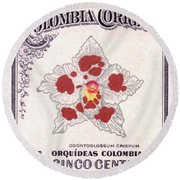 1947 Colombia Odontoglossum Orchid Stamp Round Beach Towel