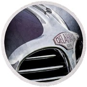 Round Beach Towel featuring the photograph 1947 Delahaye Emblem -1477ac by Jill Reger