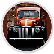 Round Beach Towel featuring the photograph 1947 Ford F150 Regular Cab Pick Up by Baggieoldboy