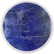 1947 Helicopter Patent Blue Round Beach Towel