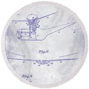 1947 Helicopter Patent Blueprint Round Beach Towel