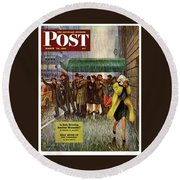1947 Saturday Evening Post Magazine Cover Round Beach Towel