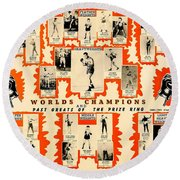1947 World Champions And Past Greats Of The Prize Ring Round Beach Towel