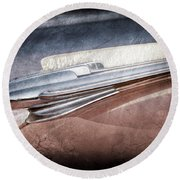 Round Beach Towel featuring the photograph 1948 Chevrolet Hood Ornament -0587ac by Jill Reger