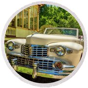 1948 Lincoln Convertible  Round Beach Towel by Ken Morris