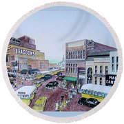 1948 Rush Hour Portsmouth Ohio Round Beach Towel by Frank Hunter