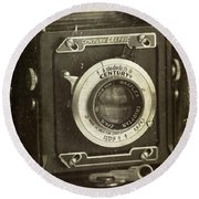 1949 Century Graphic Vintage Camera Round Beach Towel