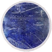 1949 Helicopter Patent Blue Round Beach Towel