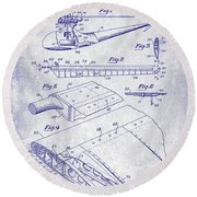 1949 Helicopter Patent Blueprint Round Beach Towel