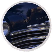1949 Plymouth Deluxe  Round Beach Towel by Cathy Anderson