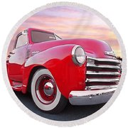1950 Chevy Pick Up At Sunset Round Beach Towel
