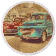 1950 Ford Truck Classic Cars - Homecoming Round Beach Towel by Rebecca Korpita