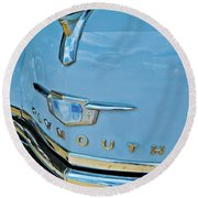 Round Beach Towel featuring the photograph 1950 Plymouth Coupe by Linda Unger